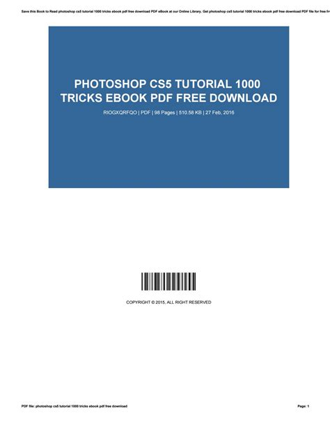 [pdf] Photoshop Cs5 Tutorial 1000 Tricks Ebook Pdf.